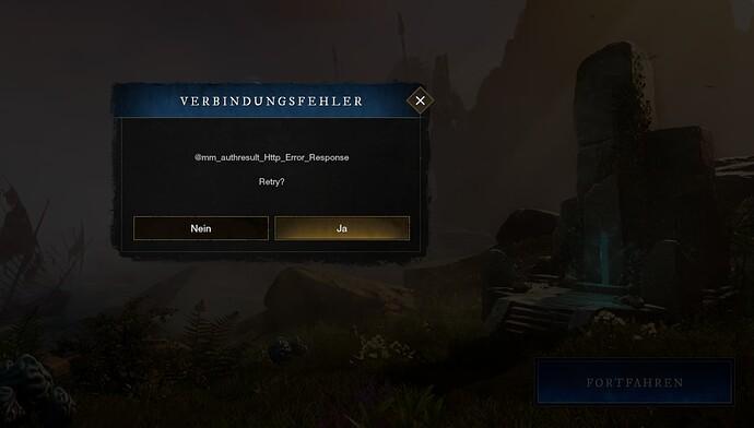 Screenshot Fehlermeldung New World